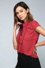 Load image into Gallery viewer, Spice Red Short Sleeve Ruffle Tie Blouse - stevenwick