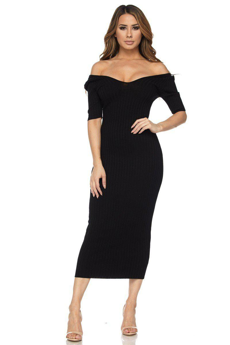 Black Half Sleeve Off Shoulder Ribbed Midi Dress - STEVEN WICK