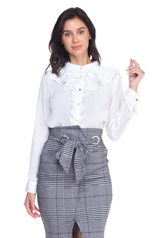 Ladies White Ruffle Sheer Blouse - STEVEN WICK