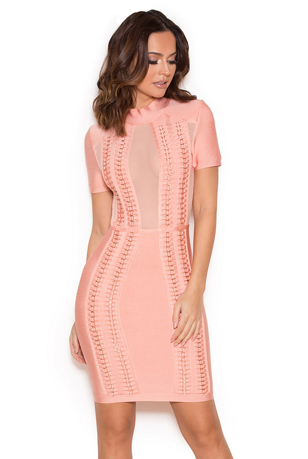 Monalisa Mesh Pink Panel Bandage Dress - STEVEN WICK