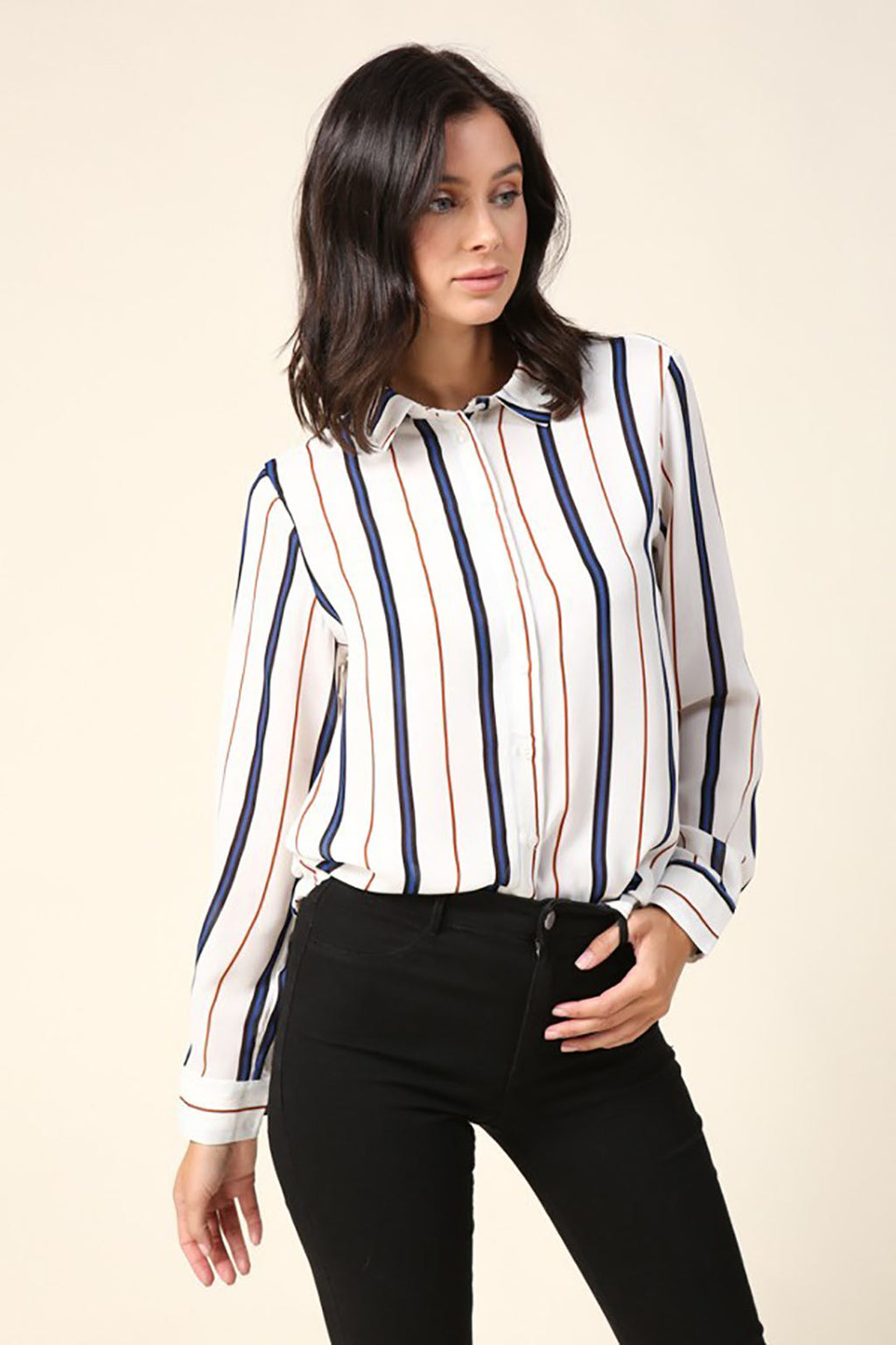 Stripe Cream & Navy Long Sleeve Button Down Shirt - STEVEN WICK