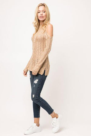 Taupe Ribbed Knit Long Sleeve Sweater Top - steven wick