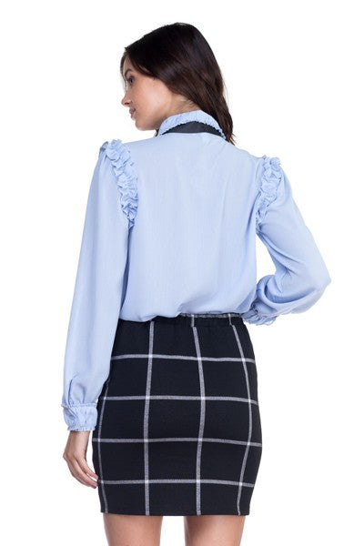 Off Blue Ruffle Bow Tie Blouse - STEVEN WICK