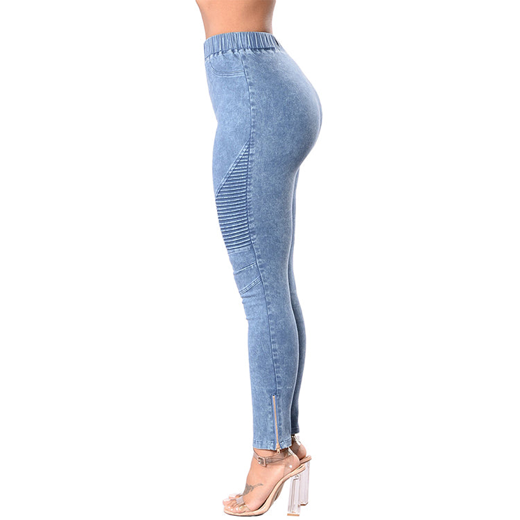 Elastic Thin Wash Denim Jeggings - STEVEN WICK