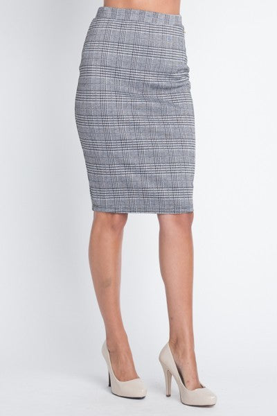 Ladies Grey Knit Checkered Pencil Skirt - STEVEN WICK