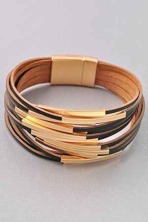 Gold Multi Row Magnetic Bracelet - STEVEN WICK