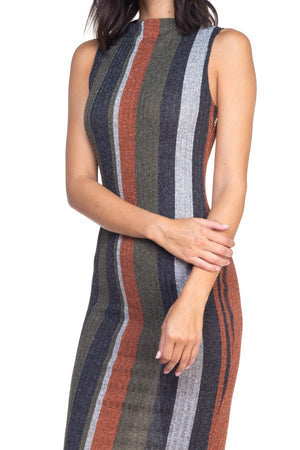 Multi-Color Midi Stripped Knit Dress - steven wick