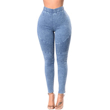 Load image into Gallery viewer, Elastic Thin Wash Denim Jeggings - stevenwick
