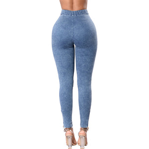 Elastic Thin Wash Denim Jeggings - stevenwick