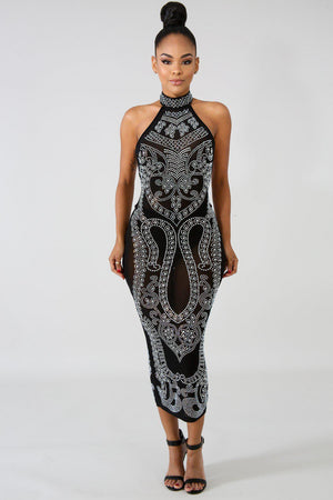 Black Iridescent Rhinestone Studded Midi Dress - STEVEN WICK