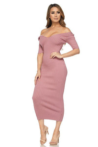 Mauve Ribbed Knit Off Shoulder Short Sleeve Dress - stevenwick