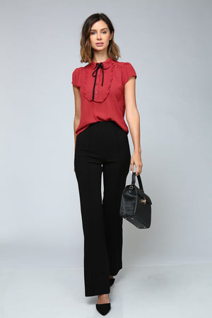Spice Red Short Sleeve Ruffle Tie Blouse - STEVEN WICK