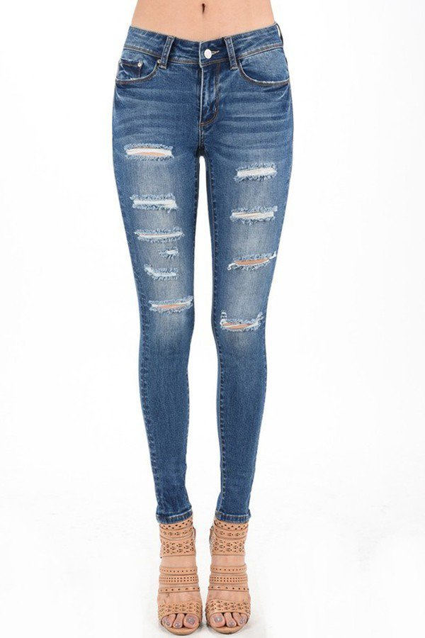Distressed Dark Blue Skinny Jeans - stevenwick