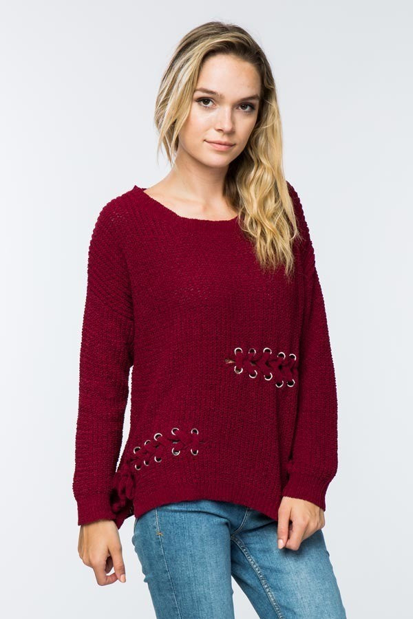 Soft Red Lace-Up Detail Sweater - steven wick