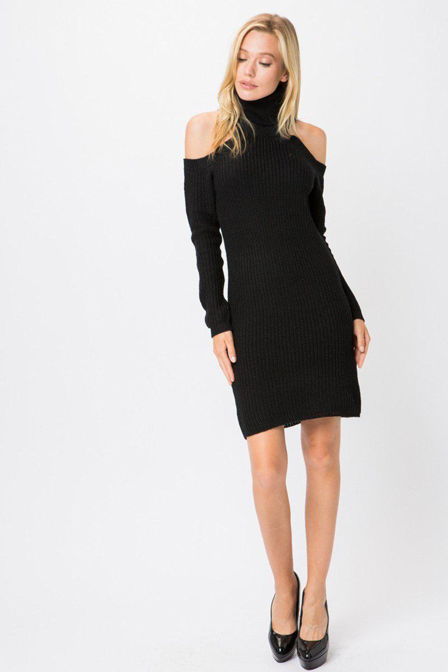 Black Ribbed Knit Turtleneck Long Sleeves Sweater Dress - steven wick