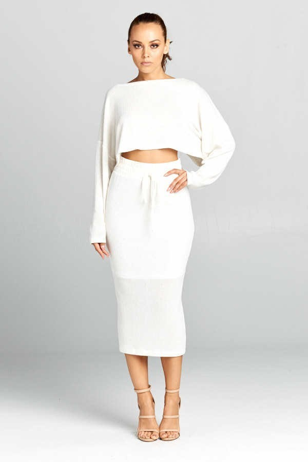 White Knit High Waist Sweater Two Piece Set - steven wick