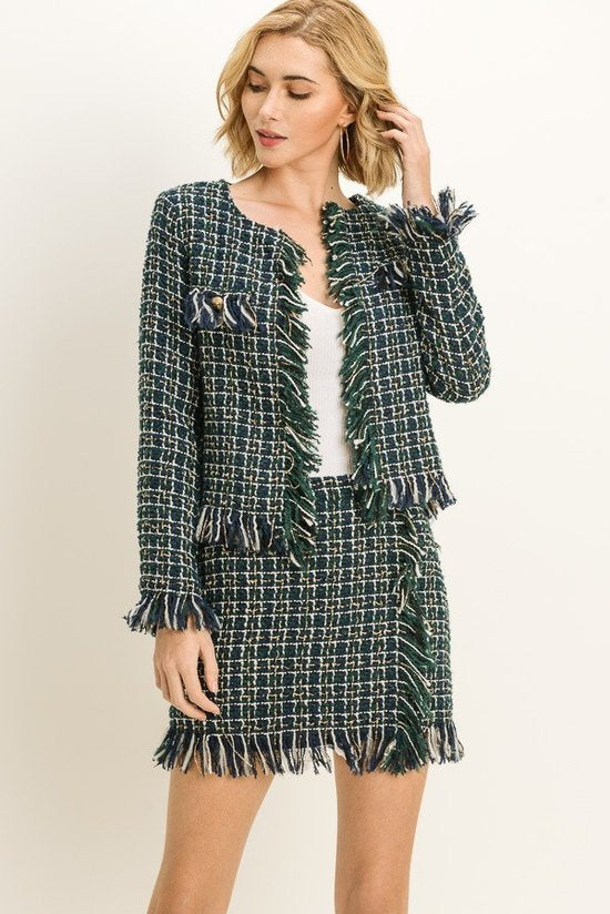 Women's Fringed Tweed Green Jacket - STEVEN WICK