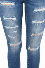 Load image into Gallery viewer, Distressed Dark Blue Skinny Jeans - steven wick