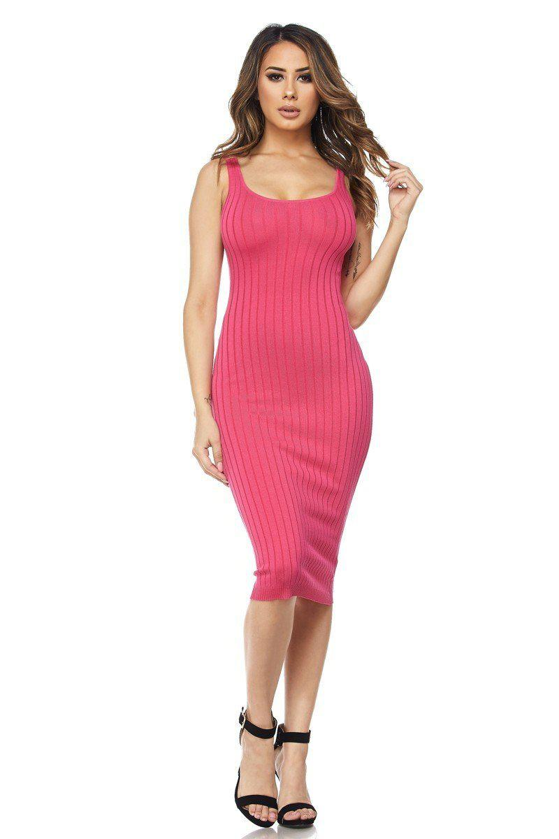 Fuchsia Ribbed Knit Sleeveless Dress - steven wick