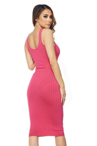 Fuchsia Ribbed Knit Sleeveless Dress - stevenwick