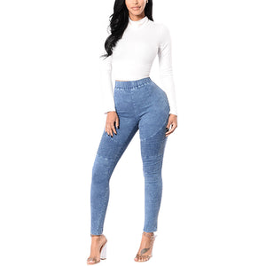 Women's Elastic Medium Wash Denim Jeggings - STEVEN WICK