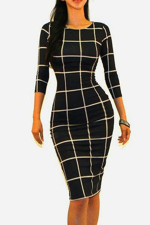 Quarter Sleeve Plaid Bodycon Dress - STEVEN WICK