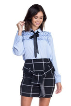 Load image into Gallery viewer, Off Blue Ruffle Bow Tie Top - stevenwick
