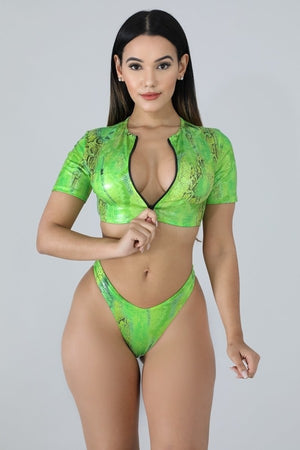 Two Piece Neon Metallic Snake Print High Waist Bikini - STEVEN WICK