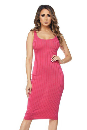 Fuchsia Basic Ribbed Knit Sleeveless Dress - STEVEN WICK
