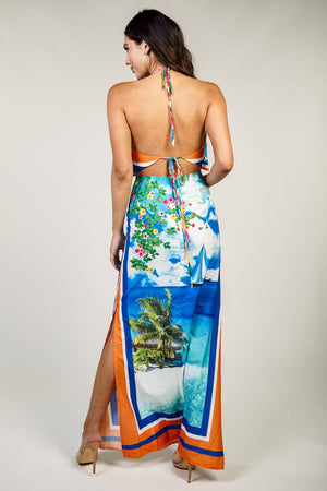 Ocean Breeze Maxi Silky Island Dress - STEVEN WICK