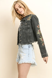Black Embroidered Distressed Denim Jacket - steven wick
