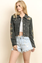 Load image into Gallery viewer, Black Embroidered Distressed Denim Jacket - steven wick