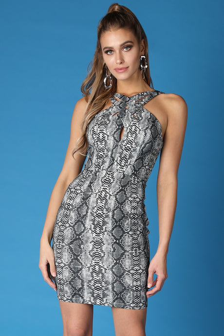 Grey Crossed Front Snake Print Dress