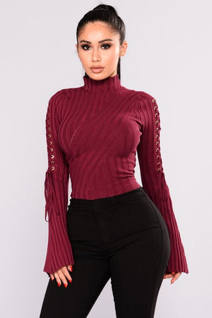 Bell Sleeve Mock Neck Sweater Top - STEVEN WICK