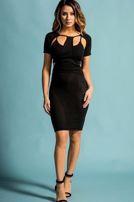 Black Cut Out Bodycon Midi Dress - stevenwick