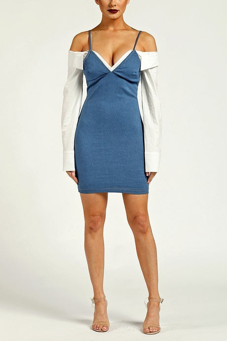 Denim Mini Dress With White Long Sleeves - stevenwick