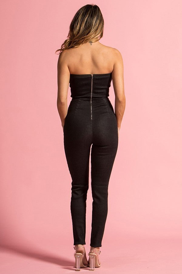 Black Off Shoulder Skinny Denim Jumpsuit - STEVEN WICK