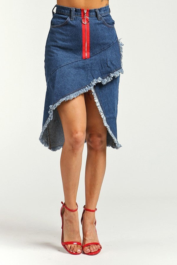 Asymmetrical Denim Skirt - steven wick