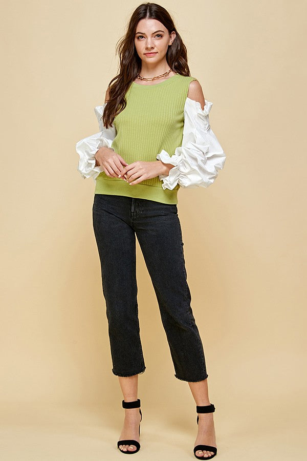 Ariana Green Knit Cold Shoulder Woven Puff Sleeve Top - STEVEN WICK