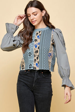 Patchwork Detailed Floral Woven Puff Sleeve Top - STEVEN WICK