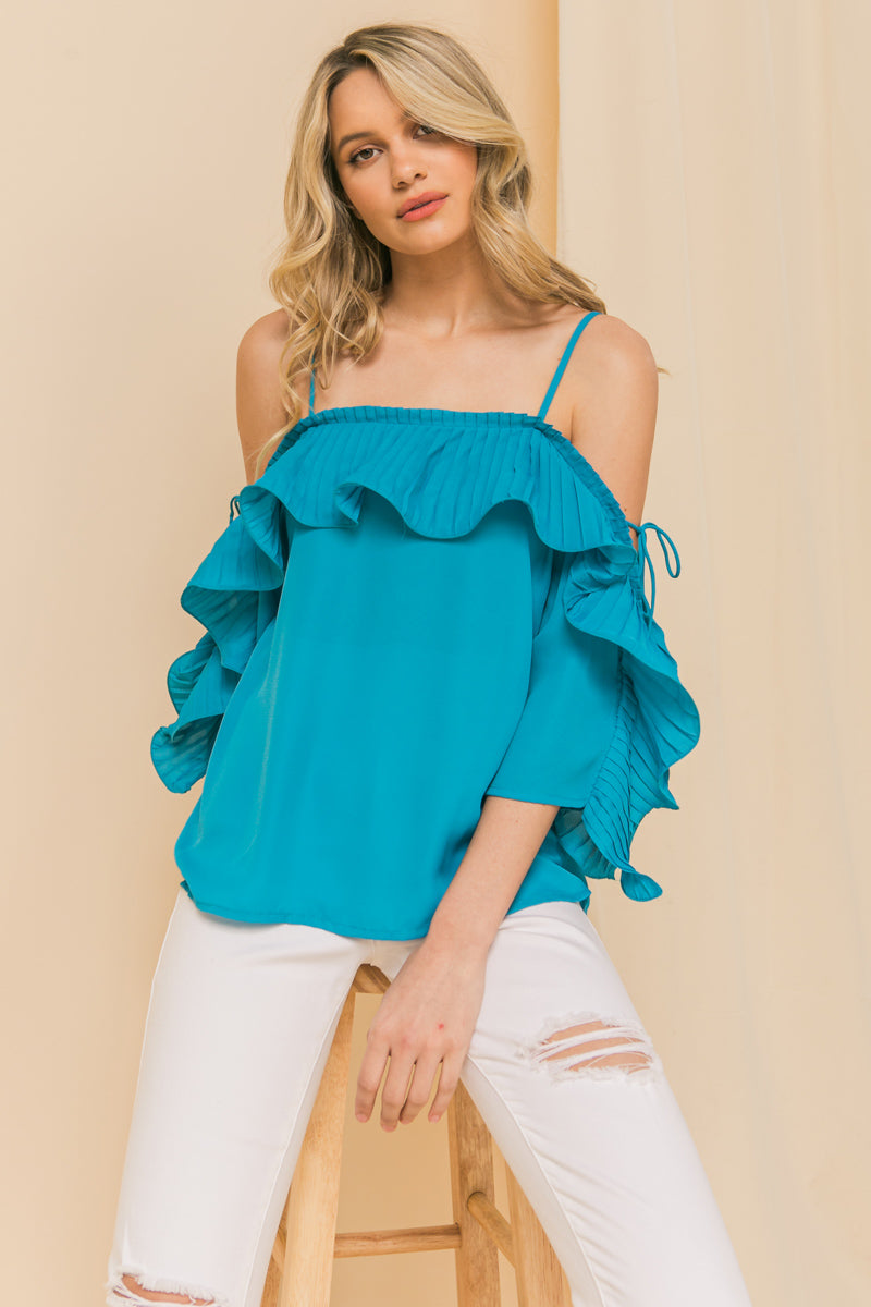 Lopez Turquoise Cold Shoulder Ruffled Pleat Top - STEVEN WICK
