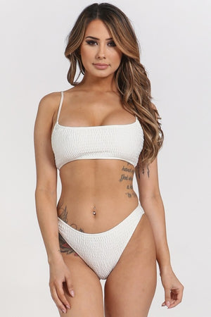 Ruched Smocked Two Piece Square Neck Bikini Set - STEVEN WICK