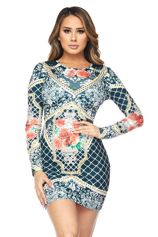 Floral Print Long Sleeve Bodycon Dress - STEVEN WICK