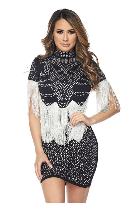 Black Fringe Rhinestone Bodycon Dress - stevenwick