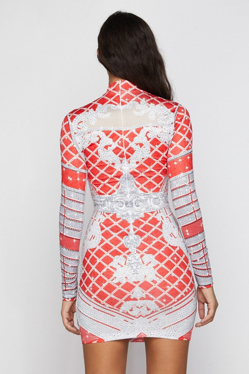 Red Print Long Sleeve Rhinestone Mini Dress - STEVEN WICK