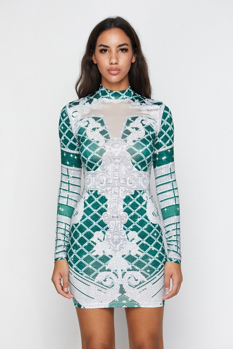 Green Print Long Sleeve Rhinestone Dress - STEVEN WICK