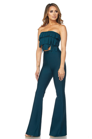 Two Piece Bandage Crop Top and Pant Set - STEVEN WICK