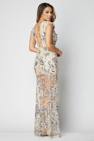 Teal Lace Sleeveless Gown - STEVEN WICK
