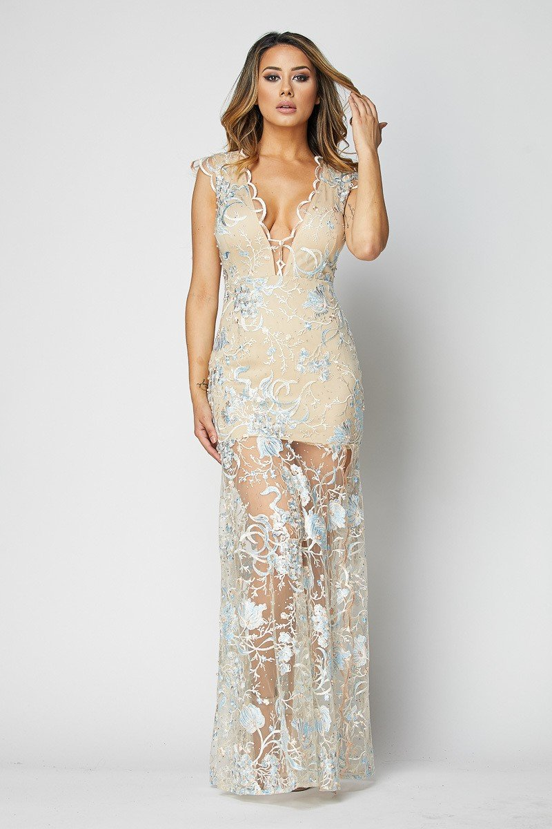 Monique Embroidered Teal Lace Sleeveless Gown - STEVEN WICK