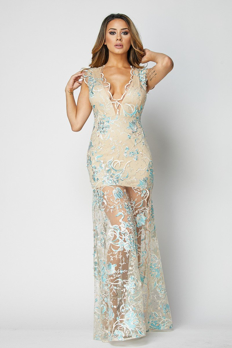 Monique Teal Lace Sleeveless Gown - STEVEN WICK